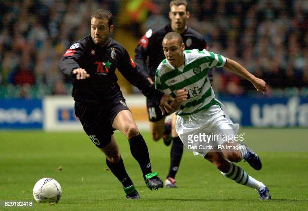 Celtic's Henrik Larsson and Juventus's Alessandro Birindelli fight for the ball during the UEFA Champions League Group E game at Celtic Park Glasgow
