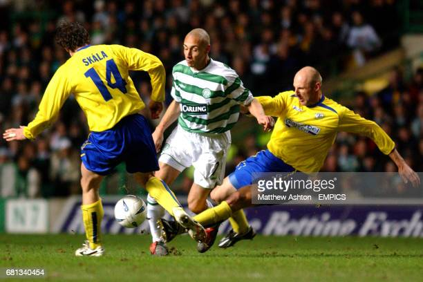 Celtic's Henrik Larsson battles for the ball with FK Teplice's Jiri Skala and Karel Rada