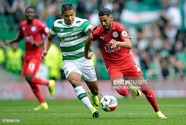 Celtic's Honduran defender Emilio Izaguirre vies with Leicester City's Algerian midfielder Riyad Mahrez during the International Champions Cup...