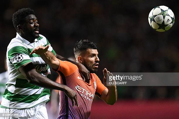 Celtic's Ivorian defender Kolo Toure vies with Manchester City's Argentinian striker Sergio Aguero during the UEFA Champions League Group C football...