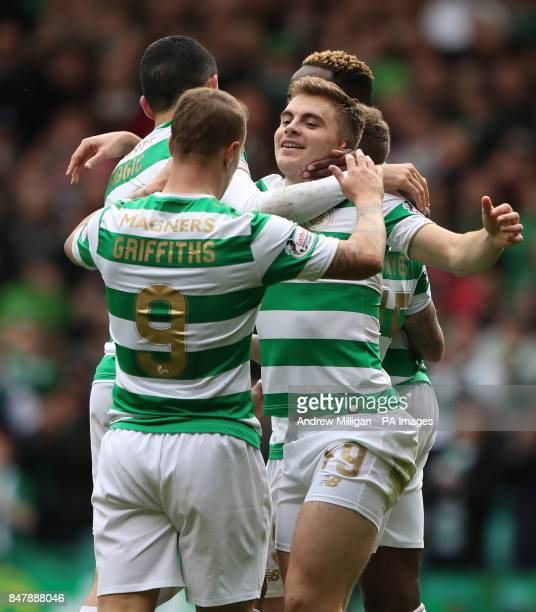 Celtic's James Forrest celebrates scoring his side's third goal of the game during the Ladbrokes Scottish Premiership match at Celtic Park Glasgow