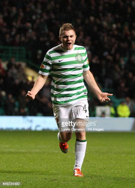 Celtic's James Forrest celebrates scoring the fourth goal during the Clydesdale Bank Scottish Premier League match at Celtic Park Glasgow