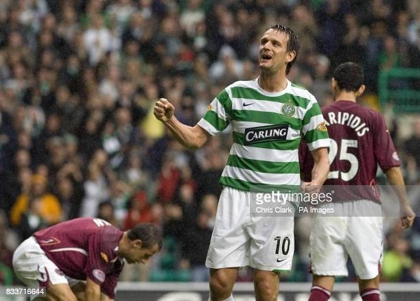 Celtic's Jan Vennegoor of Hesselink celebrates scoring a penalty during the Clydesdale Bank Scottish Premier League match at Celtic Park Glasgow