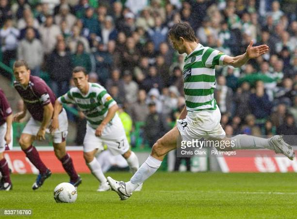 Celtic's Jan Vennegoor of Hesselink scoring a penalty during the Clydesdale Bank Scottish Premier League match at Celtic Park Glasgow