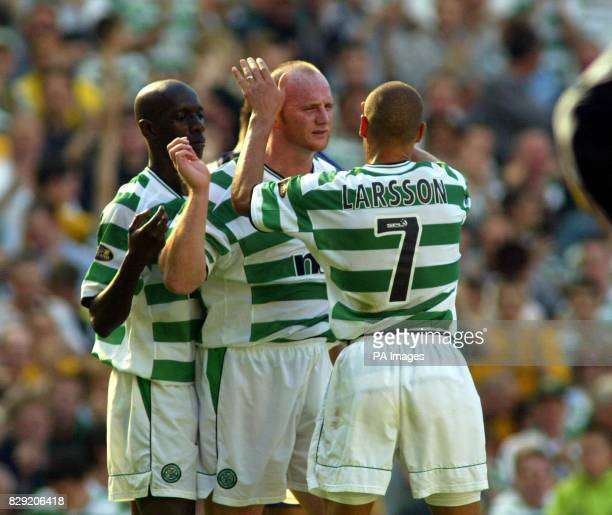 Celtics John Hartson celebrates goal with Larsson and Anmd Sylla during their Bank of Scotland Scottish Premier League match against Hibs at Celtic...