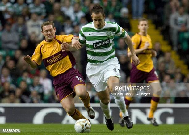 Celtic's John Kennedy in action with Motherwell's Steve McGarry during the Clydesdale Bank Scottish Premier League match at Celtic Park Glasgow