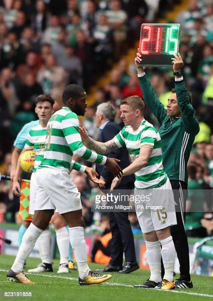 Celtic's Jonny Hayes comes on for Olivier Ntcham during the UEFA Champions League third round qualifying round first leg match at Celtic Park Glasgow