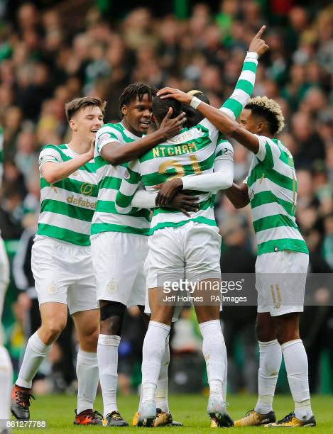 Celtic's Jules Olivier Ntcham celebrates scoring his side's first goal of the game during the Ladbrokes Scottish Premiership match at Celtic Park...