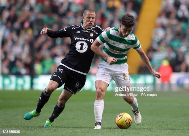 Celtic's Kieran Tierney and Rosenborg's Milan Jevtovic battle for the ball during the UEFA Champions League third round qualifying round first leg...