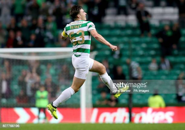 Celtic's Kieran Tierney celebrates scoring his sides fourth goal during the Betfred Cup Second Round match at Celtic Park Glasgow