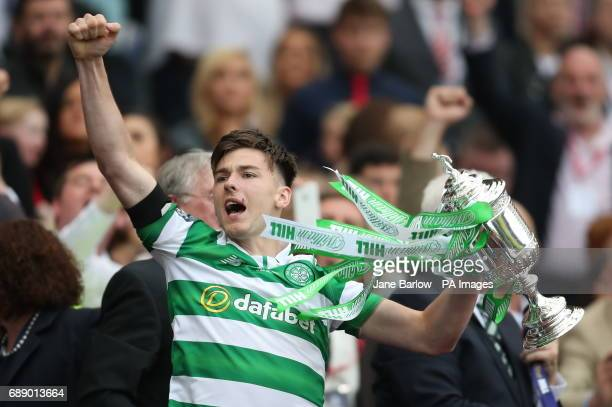 Celtic's Kieran Tierney celebrates with the trophy after the William Hill Scottish Cup final at Hampden Park Glasgow