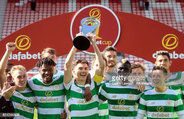 Celtic's Kieran Tierney lifts the dafabet trophy following the preseason match at the Stadium of Light Sunderland