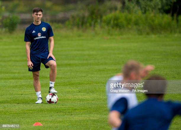 Celtic's Kieran Tierney sits out training during the training session at Mar Hall Bishopton