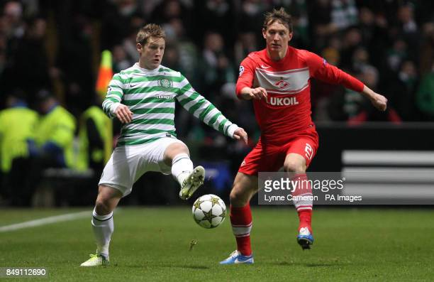 Celtic's Kris Commons and Moscow's Artem Dzuba during the UEFA Champions League match at Celtic Park Glasgow