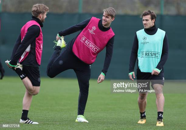 Celtics Kristoffer Ajer with Stuart Armstrong during the training session at Lennoxtown Glasgow