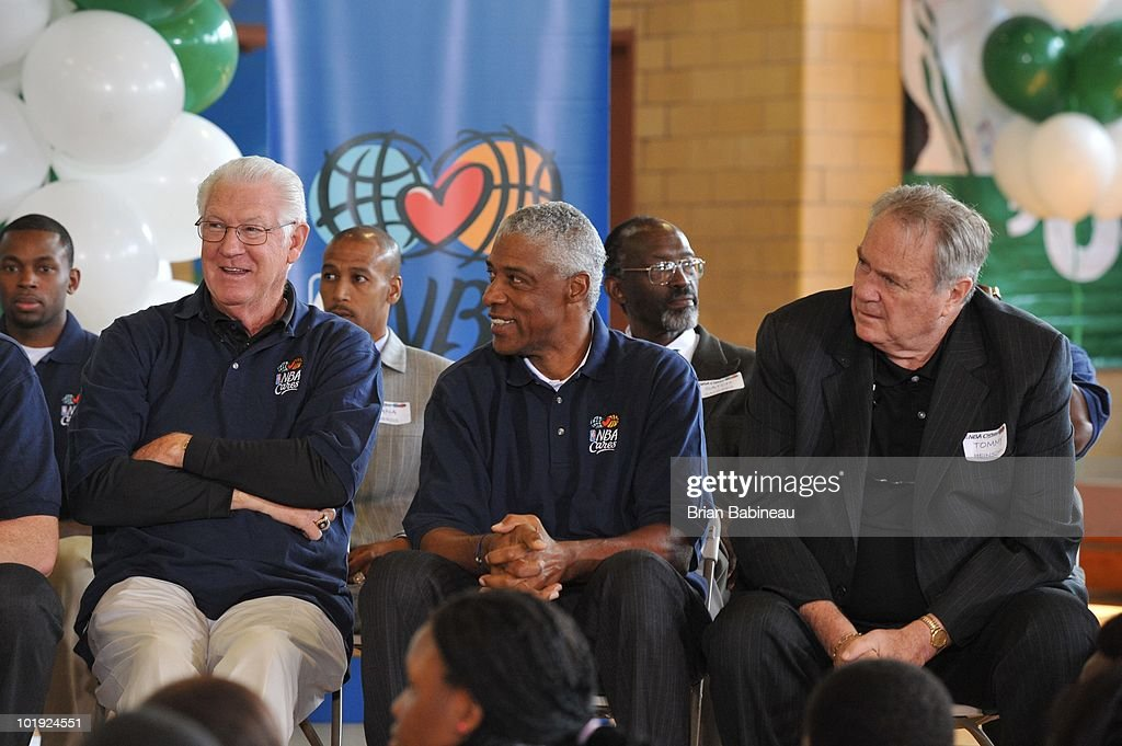 Celtics Legend <a gi-track='captionPersonalityLinkClicked' href=/galleries/search?phrase=John+Havlicek&family=editorial&specificpeople=91241 ng-click='$event.stopPropagation()'>John Havlicek</a>, NBA Legend <a gi-track='captionPersonalityLinkClicked' href=/galleries/search?phrase=Julius+Erving&family=editorial&specificpeople=202966 ng-click='$event.stopPropagation()'>Julius Erving</a> and Hall of Famer, Tommy Heinsohn, pose during the unveiling of the Learn & Play Center at the Boston Centers for Youth & Families (BCYF) Tobin Community Center on June 9, 2010 in Boston, Massachusetts.