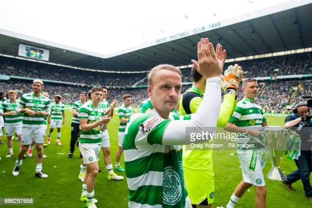 Celtic's Leigh Griffiths celebrates following the Ladbrokes Scottish Premiership match at Celtic Park Glasgow