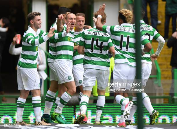 Celtic's Leigh Griffiths celebrates scoring his side's first goal during the Ladbrokes Scottish Premiership match at Celtic Park Glasgow