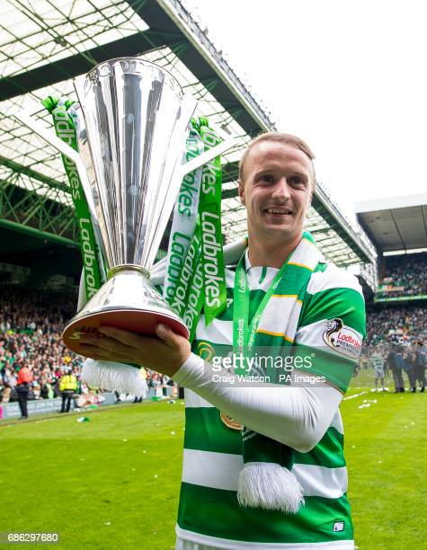 Celtic's Leigh Griffiths with the trophy following the Ladbrokes Scottish Premiership match at Celtic Park Glasgow