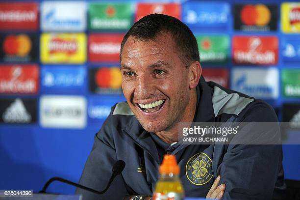 Celtic's manager Brendan Rogers attends a press conference at Celtic Park stadium in Glasgow on November 22 2016 ahead of their UEFA Champions League...