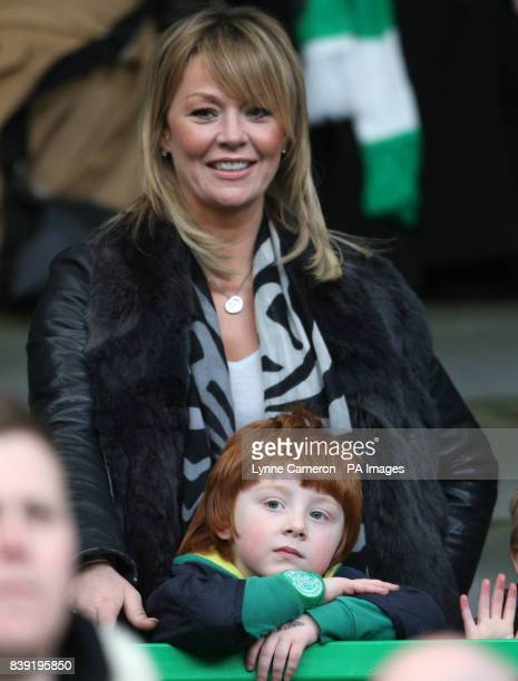 Celtic's manager Neil Lennon's partner Irene McCloy and son Gallagher during the Clydesdale Bank Scottish Premier League match at Celtic Park Glasgow