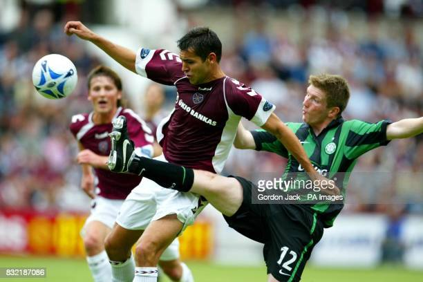 Celtic's Mark Wilson challenges Michal Popisil of Hearts during the Bank of Scotland Premier League match at Tynecastle Stadium Edinburgh