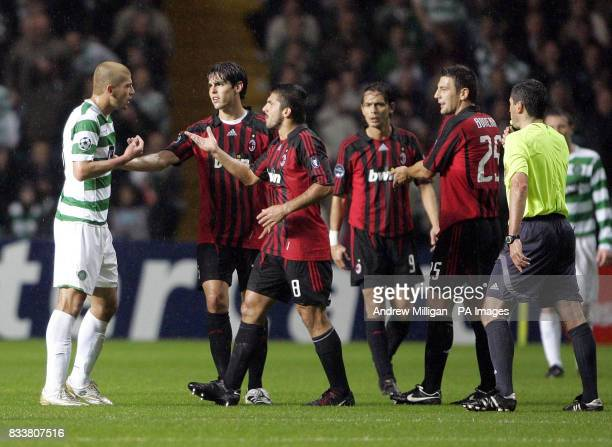 Celtic's Massimo Donati argues with Rino Gattuso during the UEFA Champions League Group D match at Celtic Park Glasgow