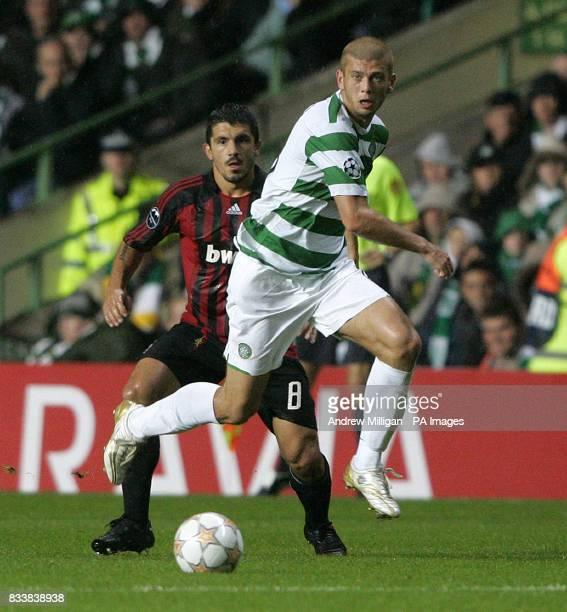 Celtic's Massimo Donati gets away from AC Milan's Gennaro Gattuso