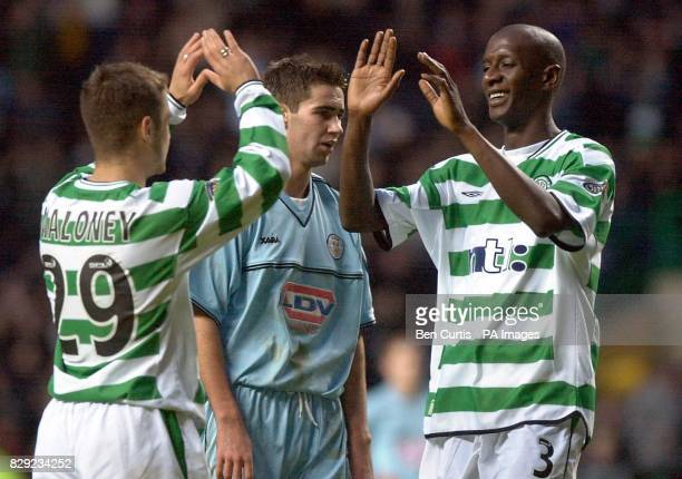 Celtic's Momo Sylla celebrates his goal with teammate Shaun Maloney as Celtic win 30 against St Mirren in their Tennent's Scottish Cup Third round...