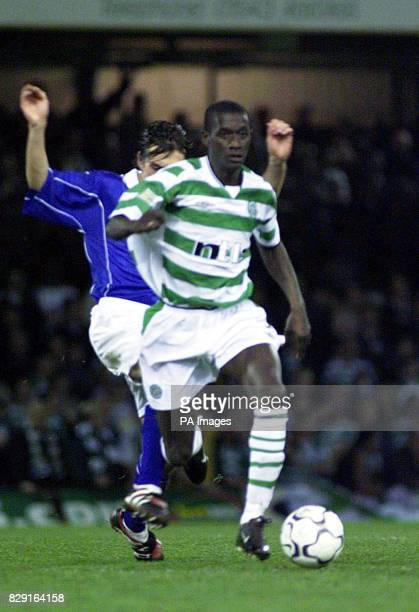 Celtic's Momo Sylla gets away from Leicester City defender Alex Mortimer during the friendly match at Filbert Street Leicester Celtic's manager...