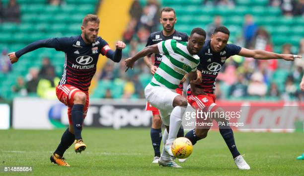 Celtic's Moussa Dembele with Lyon's Lucas Tousart and Kenny Tete during the preseason match at Celtic Park Glasgow