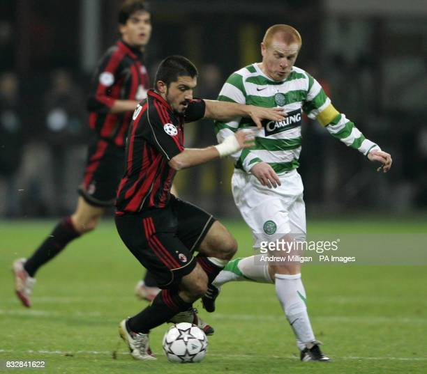 Celtic's Neil Lennon and AC Millan's Gennaro Gattuso during the UEFA Champions League First Knockout Round Second Leg match at the San Siro Milan