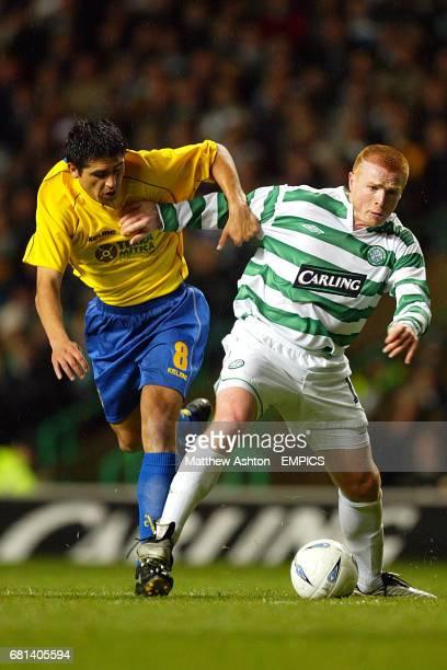 Celtic's Neil Lennon and Villarreal's Roman Riquelme