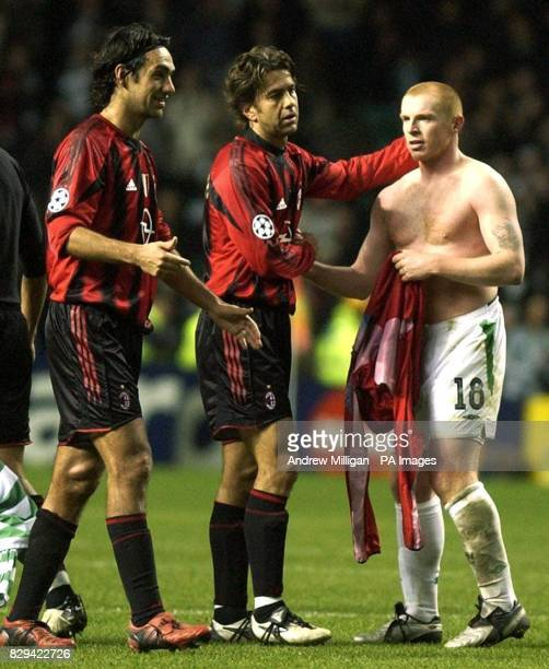 Celtic's Neil Lennon with AC Milan's Alessandro Nesta and Alessandro Costacurta after the UEFA Champions League Group F match at Celtic Park Glasgow...