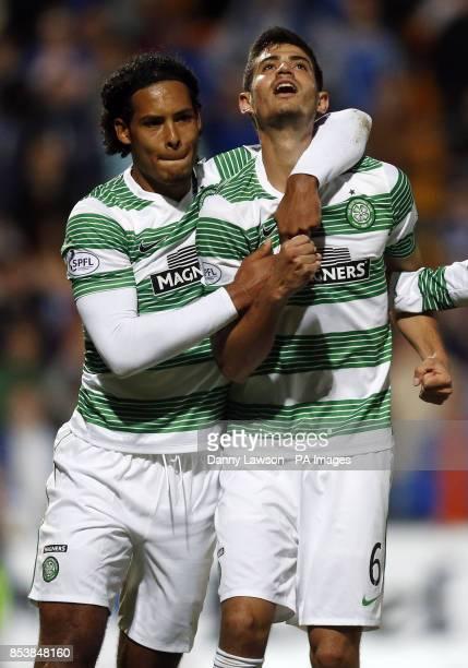 Celtic's Nir Bitton celebrates his goal with team mate Virgil Van Dijk during the Scottish Premier League match at McDiarmid Park Perth