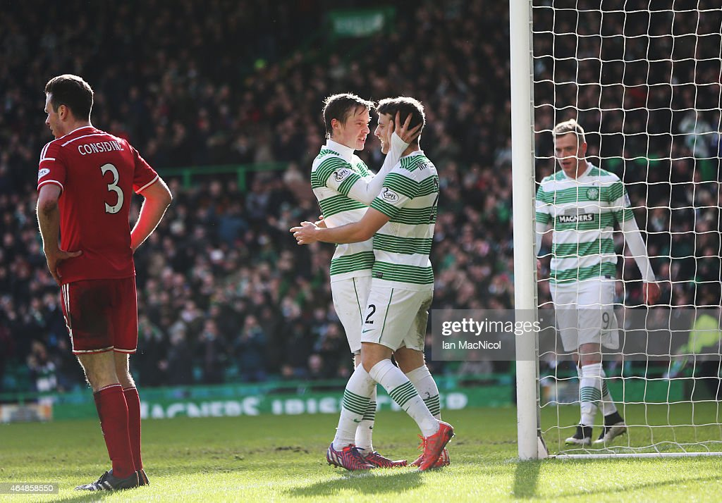 Celtic's Norwegian midfielder Stefan Johansen celebrates scoring with Celtic's Welsh defender <a gi-track='captionPersonalityLinkClicked' href=/galleries/search?phrase=Adam+Matthews+-+Soccer+Player&family=editorial&specificpeople=11408041 ng-click='$event.stopPropagation()'>Adam Matthews</a> during the Scottish Premier League match between Celtic and Aberdeen at Celtic Park on March 01, 2015 in Glasgow, Scotland.