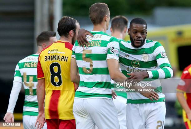Celtic's Olivier Ntcham celebrates scoring his side's first goal during the Ladbrokes Scottish Premiership match at Firhill Stadium Glasgow