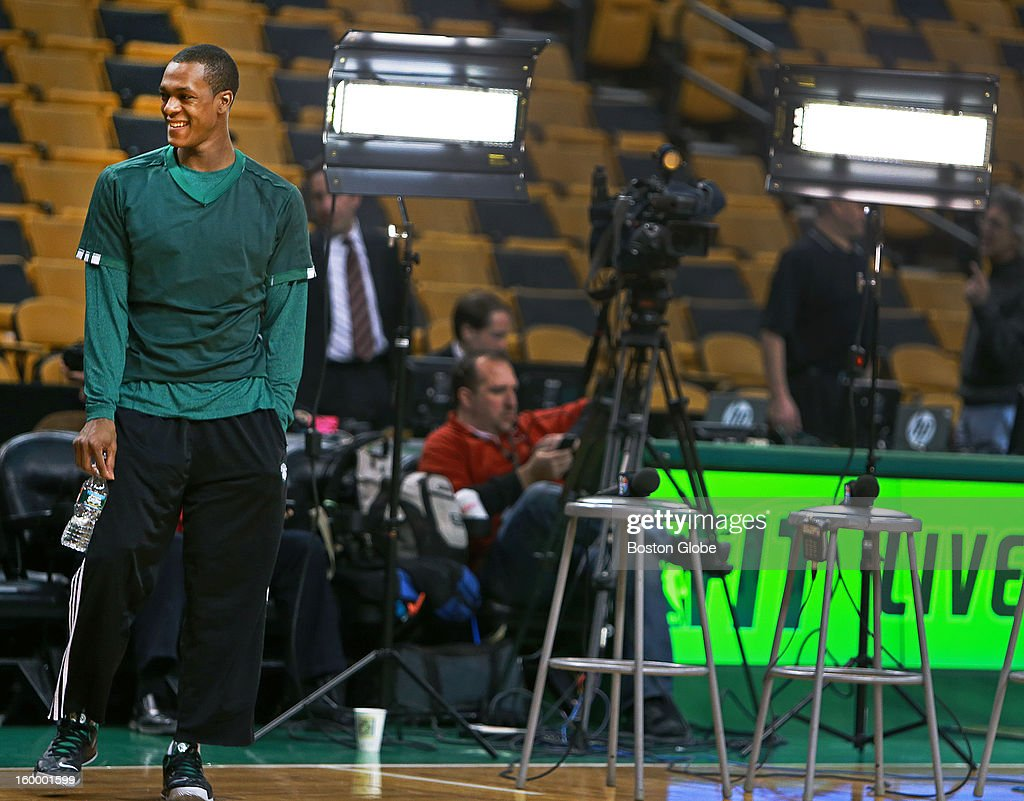 Celtics point guard Rajon Rondo, who has a history of elevating his game in the bright lights of nationally telecast tilts, was all smiles on the court before the game, which will be seen on TNT. The Boston Celtics hosted the New York Knicks in an NBA regular season game at the TD Garden.