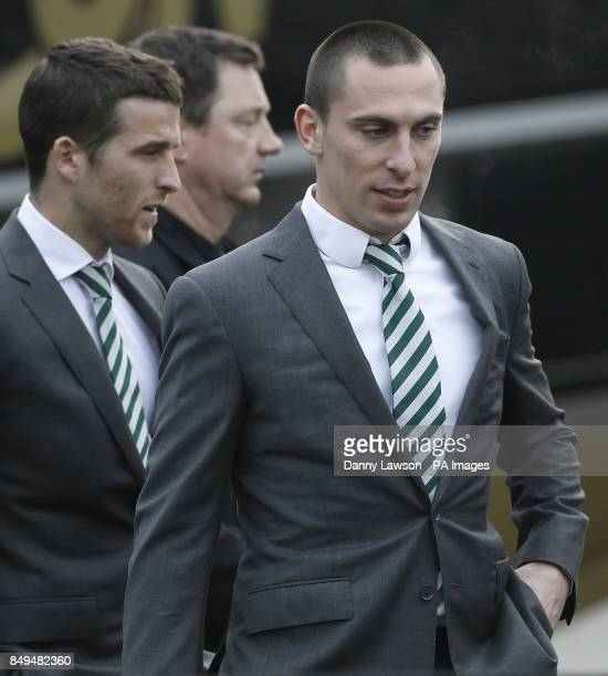 Celtic's Scott Brown attends the funeral of former Celtic assistant manager Sean Fallon at Christ the King Church in Glasgow Scotland