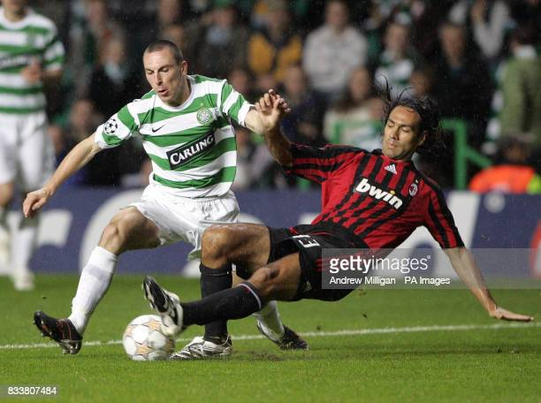Celtic's Scott Brown challenges AC Milan's Alessandro Nesta during the UEFA Champions League Group D match at Celtic Park Glasgow