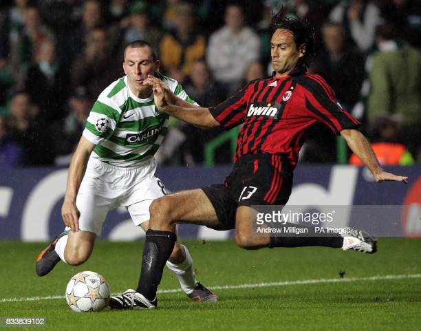 Celtic's Scott Brown challenges AC Milan's Alessandro Nesta
