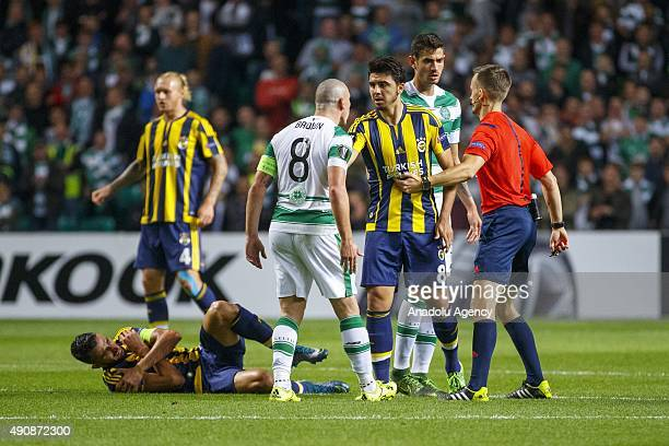 Celtics Scott Brown vies with Fenerbahces Ozan Tufan during the UEFA Europa League Group A match between Celtic FC and Fenerbahce at Celtic Park in...
