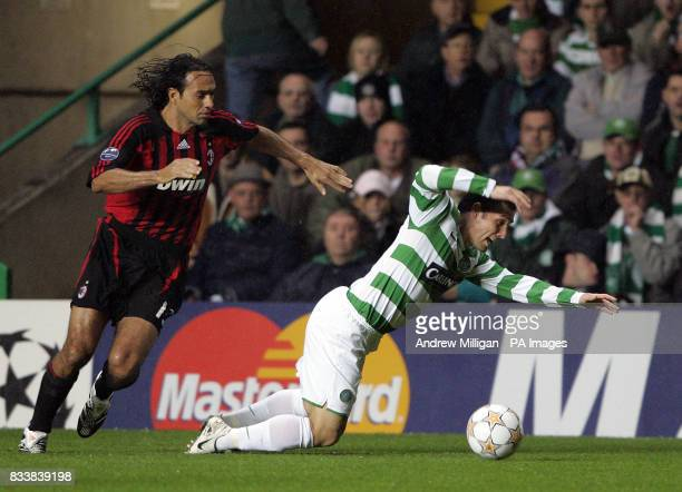Celtic's Scott McDonald is brought down by AC Milan's Alessandro Nesta