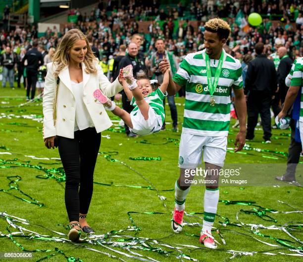 Celtic's Scott Sinclair and partner Helen Flanagan with their daughter after the Ladbrokes Scottish Premiership match at Celtic Park Glasgow