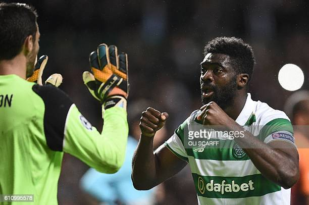 Celtic's Scottish goalkeeper Craig Gordon and Celtic's Ivorian defender Kolo Toure react folllowing the UEFA Champions League Group C football match...