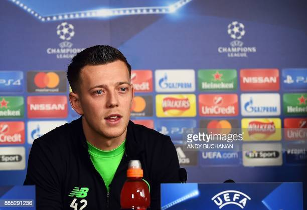 Celtic's Scottish midfielder Callum McGregor attends a press conference following a training session at the Celtic Training Centre in Lennoxtown...