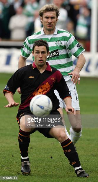 Celtic's Stanislav Varga and Motherwell's' Scott McDonald duel for the ball during the Scottish Premier League match between Motherwell and Celtic at...