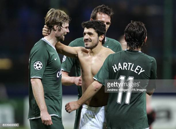 Celtic's Steven Pressley and AC Milan's Gennaro Gattuso shake hands after the final whistle