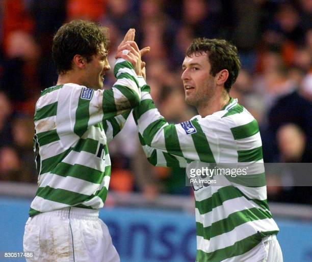 Celtic's Stilian Petrov celebrates with team mate Chris Sutton during their Scottish Premier League match against Dundee United at Tannadice Park...