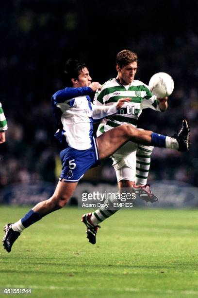 Celtic's Stiliyan Petrov and FC Porto's Paredes battle for the ball